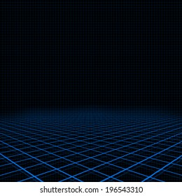 Illustration of background with neon blue platform and grid