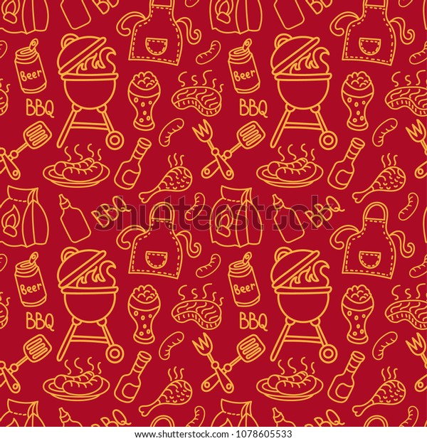 illustration of background seamless barbecue pattern for picnic