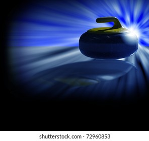 Illustration of a backlit curling stone with blue as dominant color