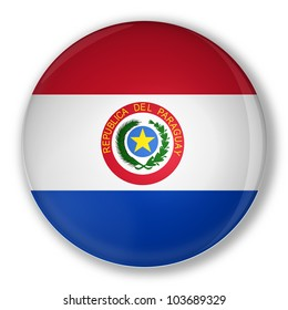 Illustration of a badge flag of Paraguay with shadow