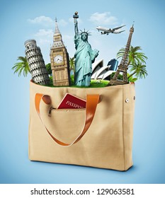 illustration of a bag full of famous monument with passport. traveling
