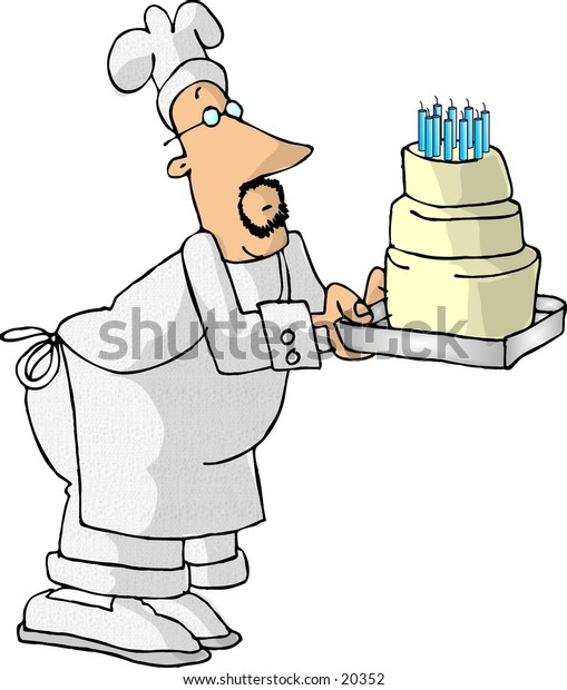 Illustration of a baker holding a large birthday cake.