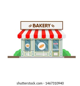 illustration of bakery building in the town.