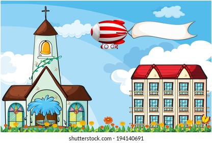 Illustration of a balloon with an empty banner flying near the church
