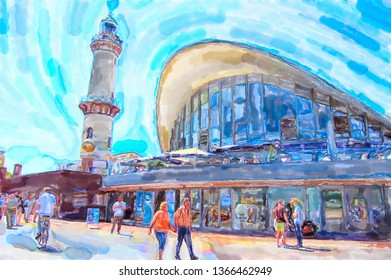 Illustration of baltic sea town Warnemunde in Germany.  People walking by at lighthouse and tea pot house.