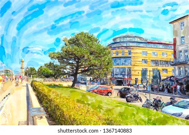 Illustration of Baltic sea town Warnemunde with lighthouse at promenade. people walking along.