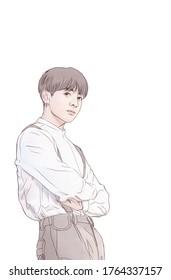 illustration, Bandung / Indonesia June 26th 2020 : Boy band member, handsome