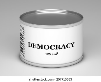 illustration of   bank with  democracy title