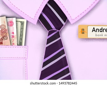 Illustration of bank manager shirt with a tie and a different money
