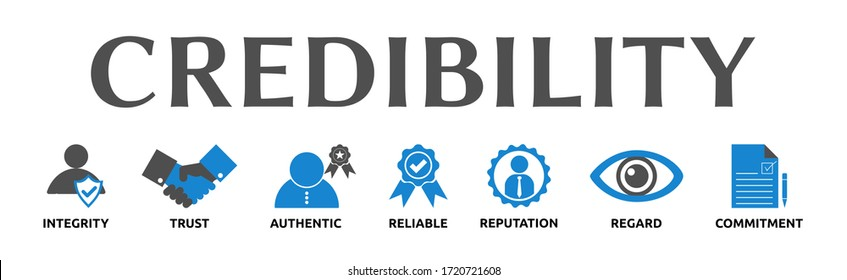 """Illustration banner on the topic: """"Credibility"""" with symbols. Isolated on white background."""