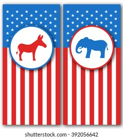 Illustration Banners with Donkey and Elephant as a Symbols Vote of USA. United States Political Parties - raster