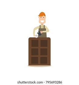 Illustration of barista making latte. Coffee house people flat style design element, icon isolated on white background.