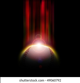 Illustration of a baseball eclipse with light rays.