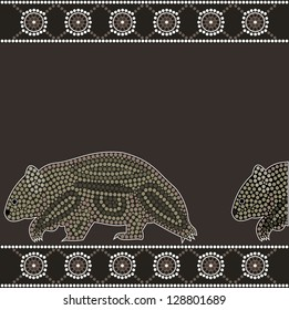 A illustration based on aboriginal style of dot painting depicting wombat
