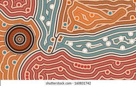 A illustration based on aboriginal style of dot painting depicting landscape after settlement