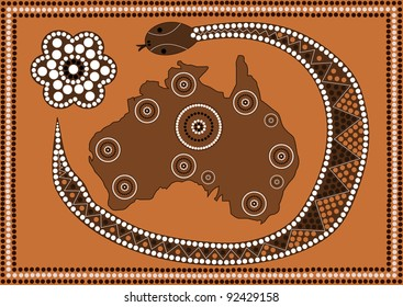 A illustration based on aboriginal style of dot painting depicting Australia
