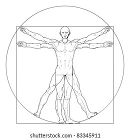Illustration based on Leonardo da Vinci's classic Vitruvian man