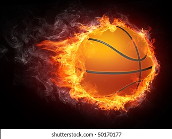 Illustration of the basketball ball enveloped in fire flames isolated on black background.