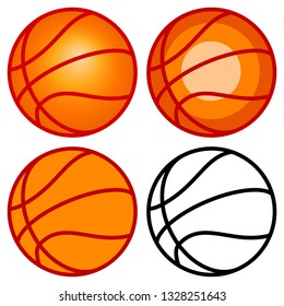 Illustration of the basketball ball set icons