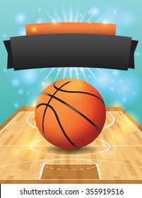 An illustration of a basketball on a hardwood court. Illustration is perfect for college basketball tournament, basketball playoffs, flyers, posters, and more.