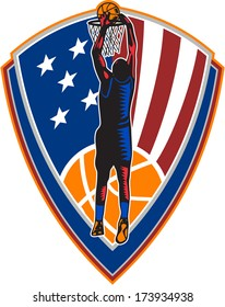 Illustration of a basketball player dunking rebounding ball set inside American stars and stripes flag shield crest done in retro style on isolated background.