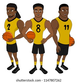 Illustration of basketball players from the same team posing together, isolated on a white background