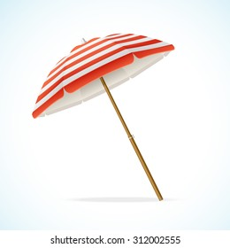 illustration Beach Umbrella Red and White. The symbol of a holiday by the sea
