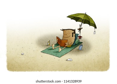 illustration of beach, under an umbrella a man is lying on a towel while reading a book.