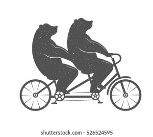 Illustration Bear on a tandem bike on a white background. Symbol Can be used for T-shirts print, labels, badges, stickers and logotypes. Raster Version.