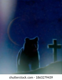 Illustration of a bear standing over a grave at night.