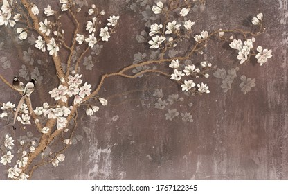 Illustration of beautiful abstract white floral decorative pattern dark brown background graphical artwork 3d wallpaper