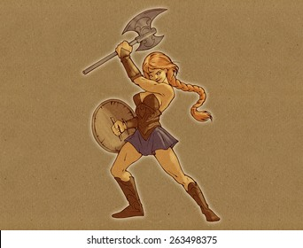 Illustration of a beautiful amazon woman with a sword and a shield