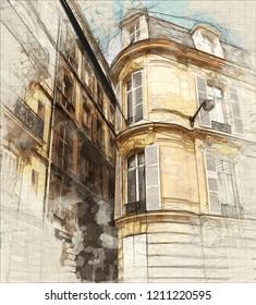 Illustration of Beautiful building in Paris