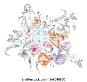 The illustration of beautiful composition of daffodils tulips violets irises in graphite
