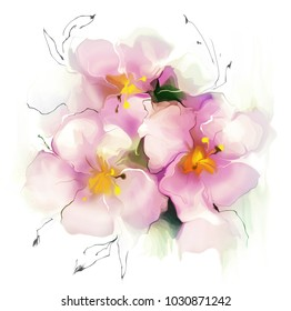 Illustration de belle fleur sur fond blanc. Dessin à l'aquarelle.
