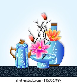 Illustration of beautiful Flower pot on decorative skyblue background- Graphical poster modern art floral wallpaper