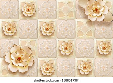 Illustration of beautiful golden flower on bright decorative texture background 3D wallpaper. Graphical poster modern