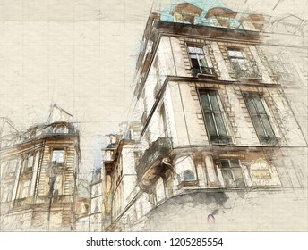 Illustration of Beautiful image of a typical old Parisian street