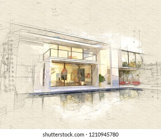Illustration of  beautiful modern villa with pool, late afternoon 3D rendering