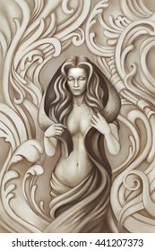 Illustration of a beautiful nude woman, covered with a cloth. Stylized in the form of statues.