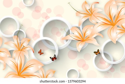 Illustration of beautiful orange color flower on bright decorative 3D ring  pattern texture wall background 3D wallpaper. Graphical modern art