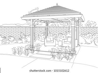 Illustration of Beautiful Pergola in Back Yard.