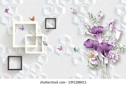 Illustration of beautiful purple flower square pattern on decorative pattern texture white background 3D wallpaper. Graphical poster modern art