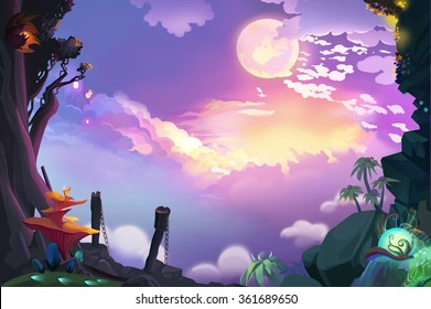 Illustration: Beautiful Sky From Mountain Top. Realistic Fantastic Cartoon Style Artwork Scene, Wallpaper, Game Story Background, Card Design