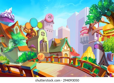 Illustration: A beautiful town with food falling from sky in the morning. Removed our lovely girl Lulu and the Pizza on the bridge. Fantastic / Cartoon Style. Wallpaper / Background / Scene Design