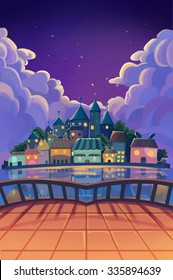 Illustration: The Beautiful Town View from Balcony in the Starry Night. Realistic Cartoon Style Scene / Wallpaper / Background Design.