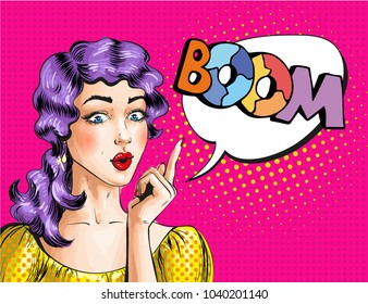 Illustration of beautiful woman and BOOM speech bubble. Wonder girl gesturing in retro pop art comic style.