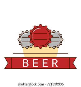 illustration of the beer bottle cap on white background.  Alcohol drinks and beverages topic.