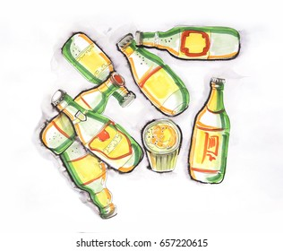 illustration of beer bottles