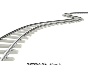 Illustration bend, turn railroad isolated on white background. 3d high resolution image